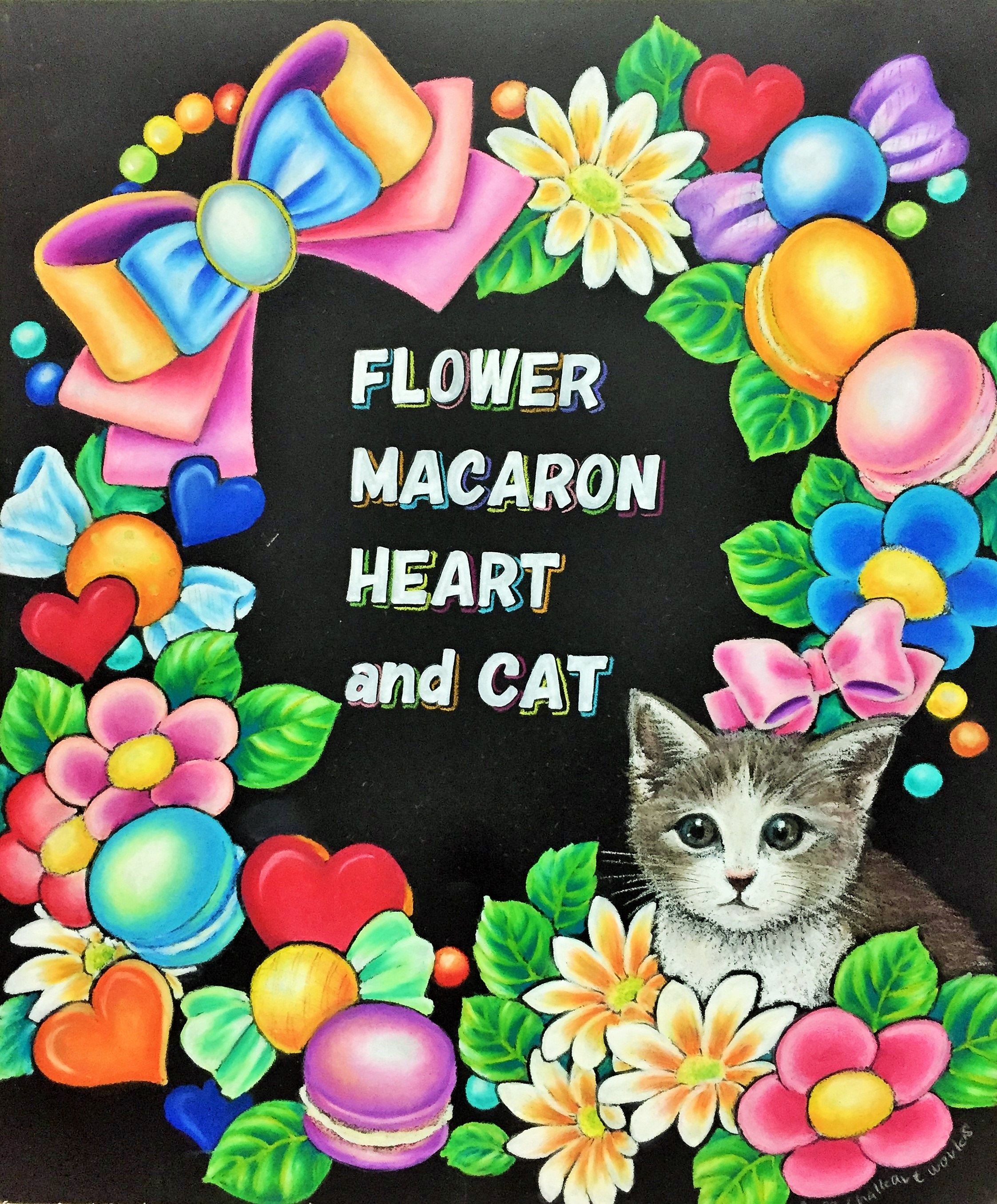 Flower Macaron Heart and Cat