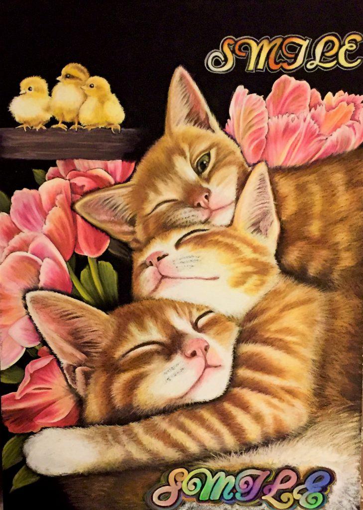 Three cats and chicks