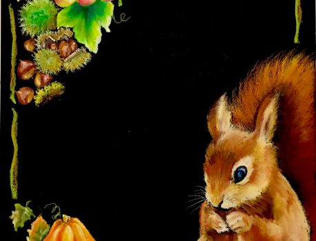 秋の森のリス